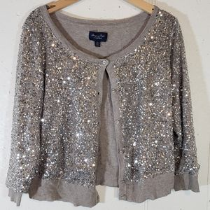 AEO L Taupe sequined button down Cardigan